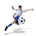 Boy with soccer ball, Footballer. (isolated)